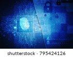 fingerprint scanning technology ... | Shutterstock . vector #795424126