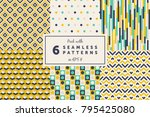pack with 6 colored seamless... | Shutterstock .eps vector #795425080