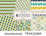 pack with 6 colored seamless... | Shutterstock .eps vector #795425089