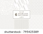 pack with 6 linear seamless... | Shutterstock .eps vector #795425389