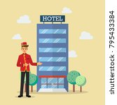 welcome to hotel bellboy... | Shutterstock .eps vector #795433384