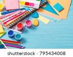 collection of school supplies... | Shutterstock . vector #795434008
