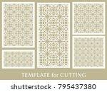 decorative panels set for laser ... | Shutterstock .eps vector #795437380