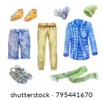 watercolor men's clothing... | Shutterstock . vector #795441670