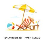 lounger and umbrella on the...   Shutterstock .eps vector #795446539