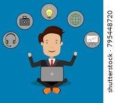 business success. man is... | Shutterstock .eps vector #795448720