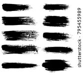 grunge ink brush strokes set.... | Shutterstock .eps vector #795455989