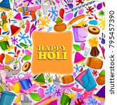 colorful traditional holi... | Shutterstock .eps vector #795457390