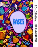 colorful traditional holi... | Shutterstock .eps vector #795457408