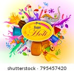 colorful traditional holi... | Shutterstock .eps vector #795457420