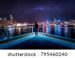 man stand in front of hong kong ... | Shutterstock . vector #795460240