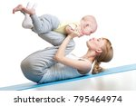 young mother does fitness... | Shutterstock . vector #795464974