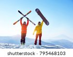 two active friends skier and... | Shutterstock . vector #795468103
