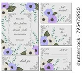 save the date card with anemone ... | Shutterstock .eps vector #795473920