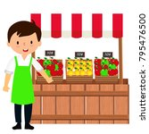 the fruit seller is selling... | Shutterstock .eps vector #795476500