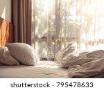 bed mattress and pillows mess... | Shutterstock . vector #795478633