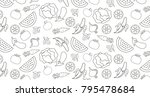 fruits and vegetables pattern...   Shutterstock .eps vector #795478684