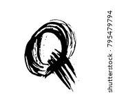letter q. handwritten by dry... | Shutterstock .eps vector #795479794