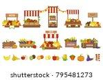 Vegetables Market Stands Set
