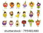 kids dressed as vegetables   Shutterstock .eps vector #795481480