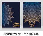 two cards for indian style... | Shutterstock .eps vector #795482188
