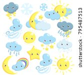 cute weather icons collection... | Shutterstock .eps vector #795487513