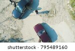 aerial view on robbers with... | Shutterstock . vector #795489160