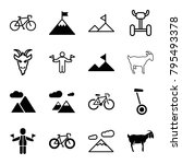mountain icons. set of 16... | Shutterstock .eps vector #795493378