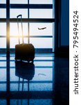 airport interior with flying... | Shutterstock . vector #795494524