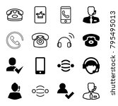 contact icons. set of 16... | Shutterstock .eps vector #795495013