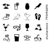 tropical icons. set of 16... | Shutterstock .eps vector #795496894