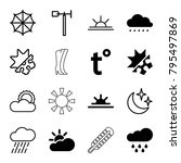 weather icons. set of 16... | Shutterstock .eps vector #795497869