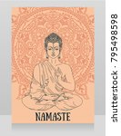 poster with buddha in... | Shutterstock .eps vector #795498598