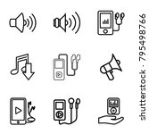 mp3 icons. set of 9 editable... | Shutterstock .eps vector #795498766