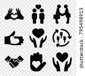hands icons. set of 9 editable... | Shutterstock .eps vector #795498913