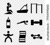 gym icons. set of 9 editable... | Shutterstock .eps vector #795499840