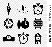 clock icons. set of 9 editable... | Shutterstock .eps vector #795499924