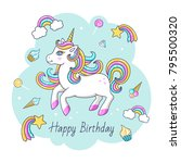 happy birthday card with cute... | Shutterstock .eps vector #795500320