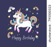 happy birthday card with cute... | Shutterstock .eps vector #795500323