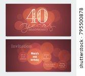 40 years anniversary invitation ... | Shutterstock .eps vector #795500878