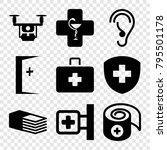 aid icons. set of 9 editable... | Shutterstock .eps vector #795501178