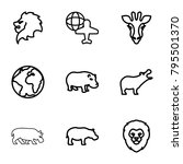 africa icons. set of 9 editable ... | Shutterstock .eps vector #795501370