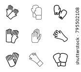 glove icons. set of 9 editable... | Shutterstock .eps vector #795502108