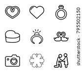 wedding icons. set of 9... | Shutterstock .eps vector #795502150