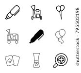 objects icons. set of 9... | Shutterstock .eps vector #795502198