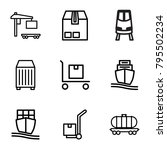 freight icons. set of 9... | Shutterstock .eps vector #795502234