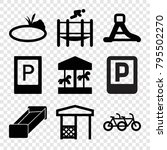 park icons. set of 9 editable... | Shutterstock .eps vector #795502270
