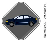 blue car vecton icon is a flat...