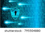 binary circuit board future... | Shutterstock .eps vector #795504880
