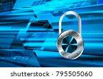 binary circuit board future... | Shutterstock .eps vector #795505060